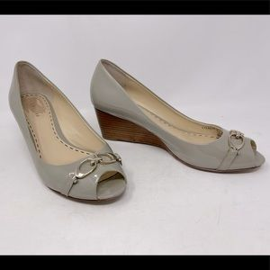 Coach Temple Taupe Beige Patent Leather Wedge 7.5